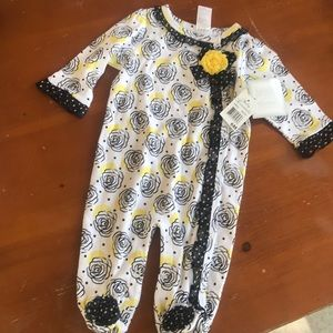 Yellow & black roses rosettes Footed PJs onsie